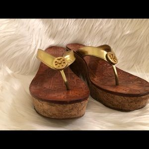 Tory Burch gold wedge flip flops 6.5